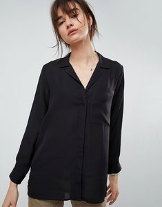 Read more about Asos open neck blouse with oversized pocket - black
