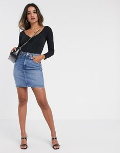 Read more about Asos design denim original high waisted skirt in stonewash blue - blue