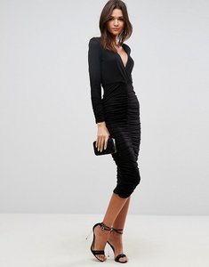 Read more about Asos bodycon deep plunge ruched midi dress - black