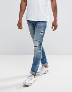 Read more about Only sons slim fit jeans with rip repair bleach wash - medium blue