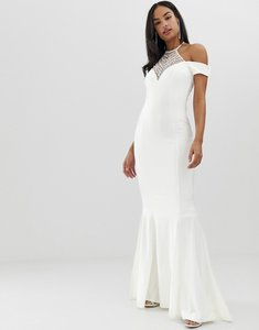Read more about City goddess bridal off shoulder fishtail maxi dress with embellished detail