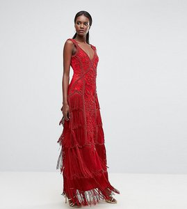 Read more about A star is born fringe embellished maxi dress with strap detail - red
