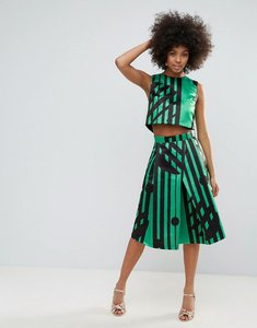 Read more about Horrockses midi skirt in multi print co ord - green polka stripe