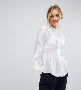Read more about True decadence tall ruffle detail blouse - white