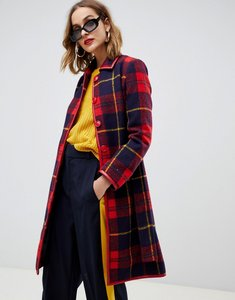 Read more about Gianni feraud check coat with faux leather trim - retro red