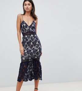 Read more about Missguided lace fishtail hem midi dress - navy