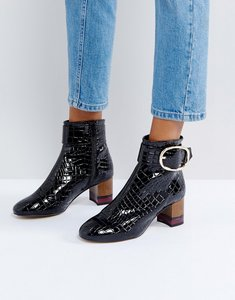 Read more about Kg by kurt geiger ringo croc effect block heeled ankle boots - black