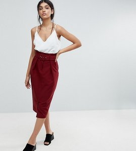 Read more about Asos tall tailored pencil skirt with self belt and paperbag waist detail - oxblood
