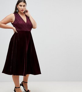 Read more about Asos curve lace insert velvet panelled midi dress - oxblood