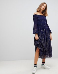 Read more about Free people foiled off shoulder midi dress - blue combo