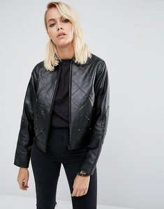 Read more about Asos leather jacket with 80 s stud detail - black