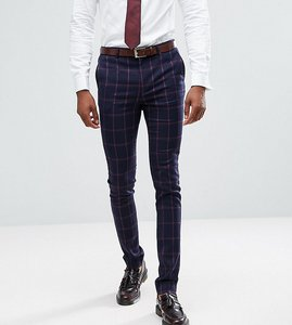 Read more about Asos tall super skinny suit trousers in navy and pink windowpane check - navy