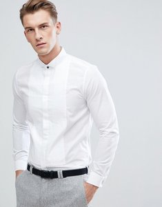 Read more about Burton menswear slim shirt with pleated detail in white - white