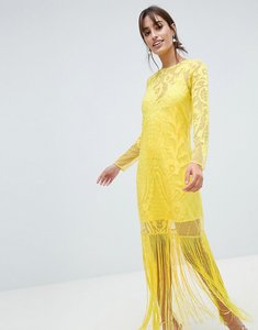Read more about Asos design embroidered long sleeve fringe maxi dress - yellow