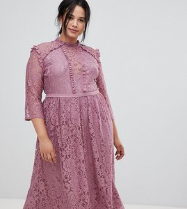 Read more about Little mistress plus all over lace full midi prom dress - canyon rose