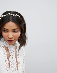 Read more about Loverocks london pearl rhinestone cluster headband - gold