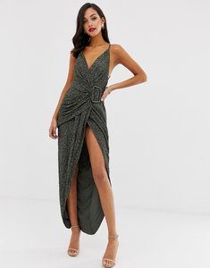 Read more about Asos design all over sequin drape maxi dress with horn buckle