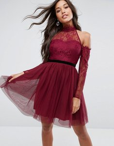 Read more about Asos premium tulle cold shoulder mini prom dress - oxblood