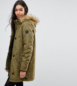 Read more about Vero moda tall parka with faux fur hood - dark olive
