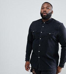 Read more about Asos design plus stretch slim denim western shirt in black - black