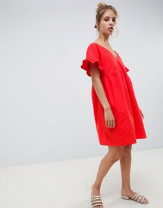Read more about Asos design v front v back cotton smock mini dress - red