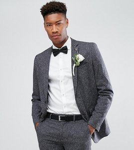 Read more about Farah tall skinny wedding suit jacket in fleck - charcoal