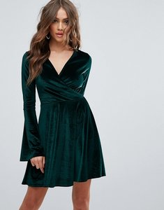 Read more about Club l flute sleeve detail skater dress - emerald green