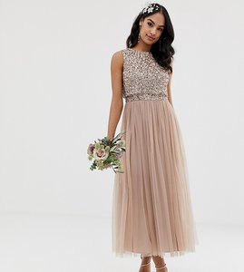 Read more about Maya bridesmaid sleeveless midaxi tulle dress with tonal delicate sequin overlay in taupe blush