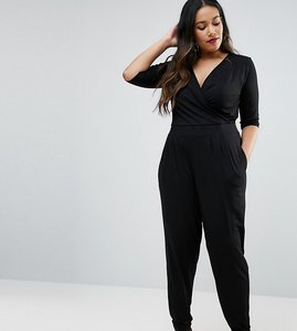 Read more about Asos design curve wrap jumpsuit with 3 4 sleeve - black