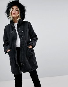Read more about Asos denim parka with borg lining in washed black - washed black