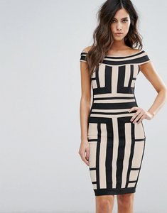 Read more about Wow couture off shoulder bandage dress in contrast panelled grid - multi