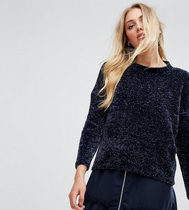 Read more about Noisy may tall round neck chenille jumper - navy
