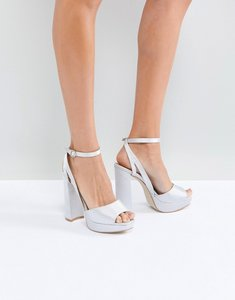 Read more about Be mine bridal katia grey satin platform heeled sandals - grey