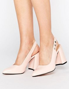 Read more about Lost ink fatima pink slingback block heeled shoes - pink
