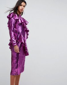 Read more about Asos embellished deconstructed all over sequin midi dress - pink