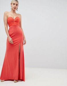 Read more about Jovani thigh split maxi dress - peach