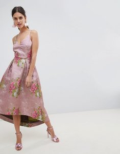 Read more about Asos edition beautiful floral jacquard midi prom dress - multi
