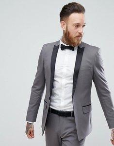Read more about Asos skinny tuxedo jacket in gunmetal grey - grey