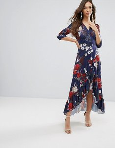Read more about Qed london wrap floral maxi dress with ruffle - navy floral print