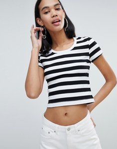 Read more about Weekday ribbed stripe crop top in black and white - black and white