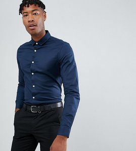 Read more about Asos design tall slim fit oxford shirt in navy - navy