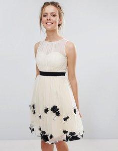 Read more about Little mistress petal applique mini dress - beige