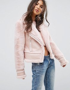 Read more about Prettylittlething faux suede aviator jacket - soft pink