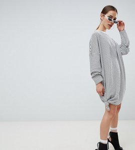 Read more about Missguided petite oversized stripe knot detail t-shirt dress - white