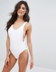 Read more about Missguided high leg swimsuit - white