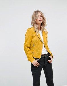 Read more about Vero moda suede biker jacket - yellow