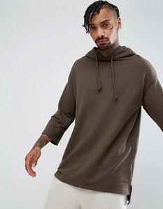 Read more about Bershka hooded sweatshirt with 3 4 sleeve in khaki - khaki