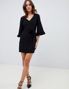Read more about Asos design kimono frill sleeve mini dress - black