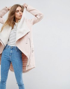 Read more about Asos waterfall parka with borg lining - pink