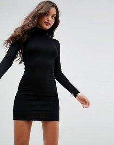 Read more about Asos mini rib bodycon dress with polo neck - black